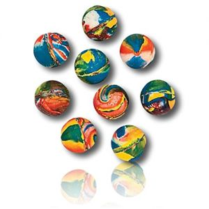 Custom & Unique {19mm} 144 Bulk Pack, Mid-Size Super High Bouncy Balls, Made of Grade A+ Rebound Rubber w/ Bright Contemporary Abstract Classic Rainbow Swirled Swirl Pattern Toy Style (Multicolor)