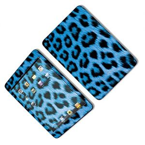 Blue and Black {Colorful Leopard} Front and Back Full Body Adhesive Vinyl Decal Sticker for iPad Mini 1st Generation Models A1432, A1454 and A1455 (No Air Bubbles - Removable Residue Free Skin}