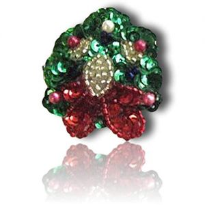 """Beautiful & Custom {1.75"""" X 1.5"""" Inch} 1 of [Sew-On & Glue-On] Embroidered Applique Patch Made of Beads & Sequins w/Wonderful Gem Stone Style Wreath w/Chirstmas Holiday Style {Green, Gold, Red}"""
