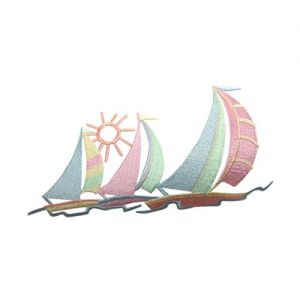 77057c56c99ab ID 5078 Multi Color Sail Boats Large Patch Ocean Sea Embroidered IronOn  Applique