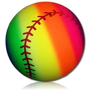Custom & Unique {228mm} 1 Single, Mid-Size Super High Bouncy Balls, Made of Grade A+ Rebound Rubber w/ Abstract Neon Colorful Rainbow Striped Sport's Team Player's Base Ball Pattern Style (Multicolor)
