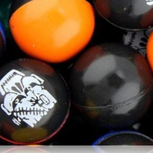 Custom & Unique {27mm} 2000 Bulk Pack, Mid-Size Super High Bouncy Balls, Made of Grade A+ Rebound Rubber w/ Two Tone Monster Faces Shiny Sold Frankenstein Mummy Skull Goblin Ghost Creepy (Multicolor)