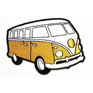 HHO Yellow Van Bus Car Hot Rod Hippie Patch Embroidered DIY Patches, Cute Applique Sew Iron on Kids Craft Patch for Bags Jackets Jeans Clothes