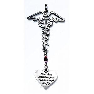 Cool & Custom {Ribbon Hang} Single Unit of Rear View Mirror Hanging Ornament Decoration Made of Zinc Alloy w/ Hospital Twisted Wrapped Snakes Guardian Angel Quote Design [Camry Silver Colored]