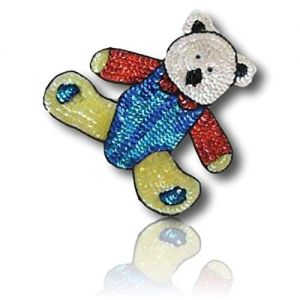 "Beautiful & Custom {7"" X 6.5"" Inch} 1 of [Sew-On & Glue-On] Embroidered Applique Patch Made of Sequins & Beads w/Different Shaded Cute Polar Teddy Bear Wearing Colorful Outfit Design {Multicolored}"