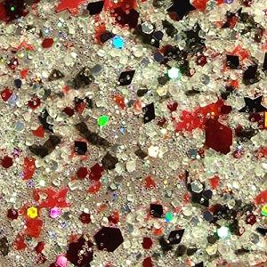 Custom & Fancy Approx 0.5 Teaspoon of Small Nail Art Glitter Confetti Made of Premium Mylar w/ Glam Sexy Sparkly Star Shape Iridescent Shimmer Dust Chunky Mix Design [Red, Black & Clear Color]
