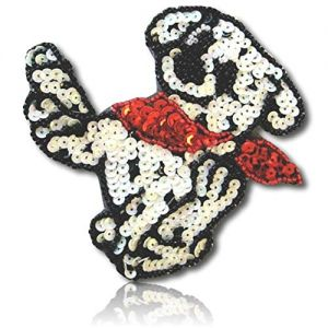 """Beautiful & Custom {4"""" Inch} 1 of [Sew-On & Glue-On] Embroidered Applique Patch Made of Sequins & Beads w/Joyful Smiling Dalmatian Dog Running & Leaping w/Velvet Bow Design {Black, White, Red}"""