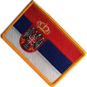 "[Single Count] Custom, Cool & Awesome {2.15"" x 3.4"" Inches} Small Rectangle Traditional Serbian National Flag Patriotic Badge Design (Military Type) Velcro Patch ""Blue, Red, White, Black & Gold"""