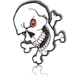 """[1 Count Single] Custom and Unique (2.75"""" x 3"""" Inch) Rectangular Bold Classic Laughing Creepy Skull & Cross Bones Symbol Biker Gang Gangster Design Iron On Embroidered Applique Patch {Multicolor}"""