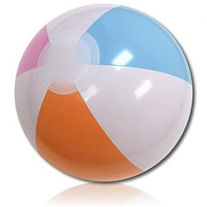 """ULTRA Durable & Custom {10"""" Inch} 1 Single of Small-Size Inflatable Beach Ball for Summer Fun, Made of Lightweight FLEX-Resin Plastic w/ Retro Thick Alternating Solid Wedge Stripes Style {Multicolor}"""