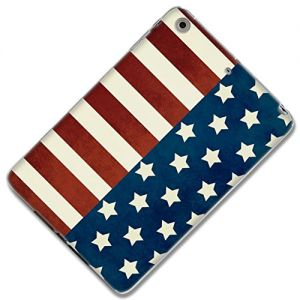 "Red, White and Blue {Classic American Flag} Soft & Smooth Silicone Cute 3D Fitted Bumper Back Cover Gel Case for iPad Mini 1, 2 & 3 by Apple ""Durable & Slim Flexible Fashion Cover w/ Amazing Design"""