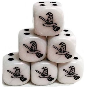 Custom & Unique {Standard Medium 16mm} 6 Ct Pack Set of 6 Sided [D6] Square Cube Shape Playing & Game Dice w/ Rounded Corner Edges w/ Witch Hat & Broom on Number 1 One Design [White & Black]