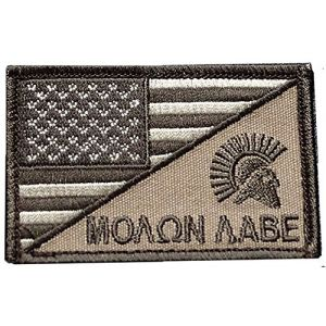 "[Single Count] Custom, Cool & Awesome {3"" x 2"" Inches} Small Rectangle USA Flag Spartan Molon Labe Combat Tactical Stars & Stripes Desert Design (Military Type) Velcro Patch ""Brown, Tan & White"""