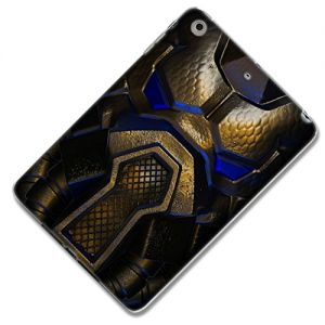 """Gold, Blue and Brown {Blue Armored Alien} Soft & Smooth Silicone Cute 3D Fitted Bumper Back Cover Gel Case for iPad Mini 1, 2 & 3 by Apple """"Durable & Slim Flexible Fashion Cover w/ Amazing Design"""""""