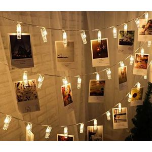 AQV LED Photo Clips String Lights Battery Operated Fairy String Lights with 20 Clips for Hanging Photos Pictures Cards Memos, Warm White Decoration Light for Christmas Bedroom Wedding