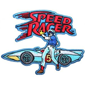 """[Single Count] Custom and Unique (4 1/4"""" by 3 1/4"""" Inches) Retro Anime Show Speed Racer Mach 5 Logo Iron On Embroidered Applique Patch {Red, Blue, and White Colors}"""