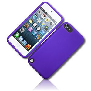 mySimple Custom Made FLEX-Gel Silicone Fitted Case for Apple iPod Touch 5th Gen w/Soft Flexible Shock Absorbing Bumper Guard Edge & Basic Classic Smooth Neon Solid Matte Violet Paint Design {Purple}