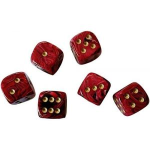 Custom & Unique {Large Size 20mm} 6 Ct Pack Set of 6 Sided [D6] Square Cube Shape Playing & Game Dice w/ Rounded Corner Edges w/ Classy Fire Agate Stone Pearl Two Tone Gloss Design [Red & yellow]