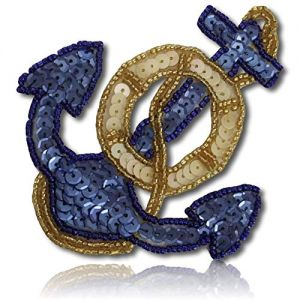 "Beautiful & Custom {4"" x 3.2"" Inch} 1 of [Sew-On & Glue-On] Embroidered Applique Patch Made of Beads & Sequins w/Stylish Sea Pirate Ship Anchor w/Ocean Shade & Gilded Sty {Light Blue, Gold, Ivory}"