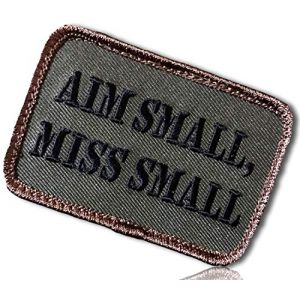 """Military Army ACU Forest Scout Camo Camouflage Tones Aim Small Miss Small Bold Capitol Font Text Rectangle Rounded Corners Hook & Loop Fastener Patch [2.5"""" X 2""""]"""