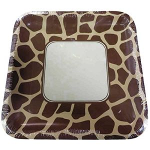 "Custom & Unique {10"" Inch} 8 Count Multi-Pack Set of Large Size Square Disposable Paper Plates w/ Modern Wildlife Safari Wild Neutral Giraffe Spots Party ""Tan & Brown Colored"""