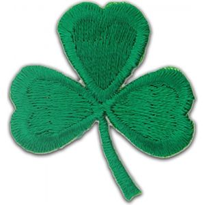 "[50 Count Set] Custom and Unique (1 1/4"" x 1 1/4"" Inch) ""Holiday"" Traditional Irish Bright Fun St. Patrick's Day Shamrock Design Iron & Stick On Adhesive Embroidered Applique Patch {Green Colors}"