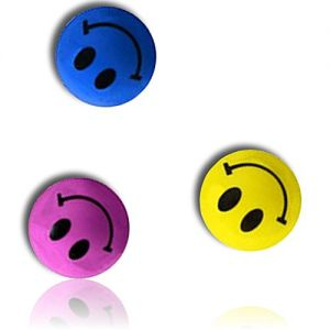 Custom & Unique {27mm} 1000 Bulk Pack, Mid-Size Super High Bouncy Balls, Made of Grade A+ Rebound Rubber w/ Smiling Grinning Beaming Emoji Bright Solid Happy Classic Retro (Pink, Yellow, Black & Blue)