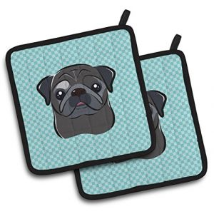 """Custom & Durable {7.5"""" X 7.5"""" Inch Each} 2 Set Pack Mid Size """"Non-Slip"""" Pot Holders Made of Cotton for Carrying Hot Dishes w/ Painted Treasures Obsidian Pug Checker Style [Blue, White, & Black]"""