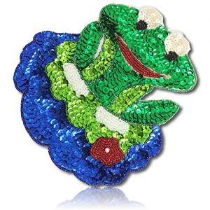 "Beautiful & Custom {7"" X 6.2"" Inch} 10 Pack of [Sew-On & Glue-On] Embroidered Applique Patch Made of Sequins & Beads w/Delightful Frog Sitting On Lily Pad w/Round Googly Eyes Style {Multicolored}"