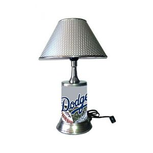 JS Dodgers Table Lamp with Chrome Shade, Your Favorite Team Plate Rolled in on The lamp Base, LAD, MLB