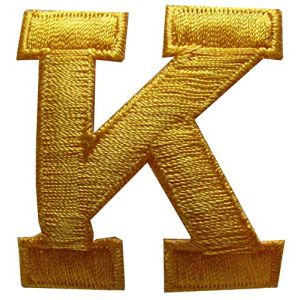 "[Single Count] Custom and Unique (1.75"" Inches) American Alphabet Letters Cool College Varsity Letterman Capital Letter K Iron On Embroidered Applique Patch {Gold Yellow Color}"