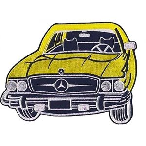 """Mercedes Benz Patch Vintage Classic Sports Car Embroidered Iron on Large 8"""" (Yellow)"""