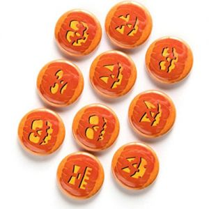 "Custom & Novelty {1"" Inch} 10 Bulk Pack, Mid-Size Button Pin-Back Badges for Unique Clothing Accents, Made of Rust-Proof Metal w/ Cute Halloween Jack-O-Lanterns Colorful Fun Simple Style [Multicolor]"