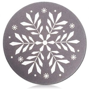"""Unique & Custom {15"""" Inch} Single Set Round Circle """"Flat & Smooth Texture"""" Large Table Placemat Made of Washable Flexible Polyester w/ Festive Winter Snowflakes & Stars Xmas [Colorful Grey, & White]"""