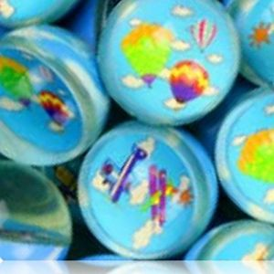 Custom & Unique {27mm} 2000 Bulk Pack, Mid-Size Super High Bouncy Balls, Made of Grade A+ Rebound Rubber w/ Suns Clouds Hot Air Balloons Airplanes Aircraft Airship Plane Flying Soaring (Multicolor)