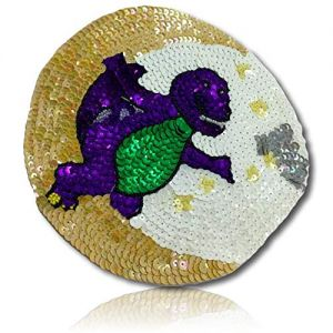 """Beautiful & Custom {7"""" Inch} 1 of [Sew-On & Glue-On] Embroidered Applique Patch Made of Sequins & Beads w/Kid's Dinosaur in Costume Smiling w/I Don't Know Pose & Stunning Moon & Stars {Multicolored}"""
