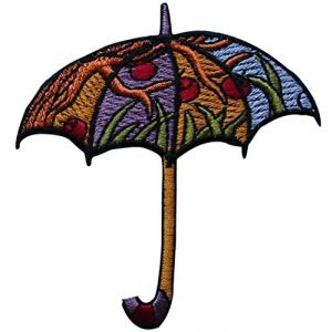 "[Single Count] Custom and Unique (3"" x 3 1/8"" Inches) Colorful Seasonal Hippie Nature Fashionable Umbrella Iron On Embroidered Applique Patch {Purple, Gold and Black Colors}"