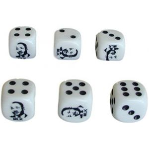 Custom & Unique {Standard Medium 16mm} 6 Ct Pack Set of 6 Sided [D6] Square Cube Shape Opaque Playing & Game Dice Made of Plastic w/ Classic Martin Luther King Face Board Game Design [White & Black]
