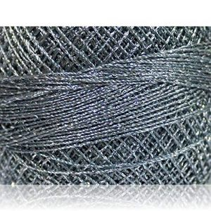 """Fabulous Crafts {2070 Total Yards / 200g} 10 Cakes Pack of Durable"""" Size 0 Lace Weight Fingering"""" Yarn for Knitting, Crochet & More, Made of 70% Polyester & 30% Lurex w/Dull Chrome {Silver & Grey}"""