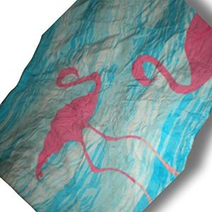 """Custom & Luxurious {28"""" x 58"""" Inch} 1 Single Large & Thick Soft Summer Beach & Bath Towels Made of Quick-Dry Cotton w/ Cartoon Side View of Flamingos Playing In The Water Bright Colorful [Pink & Blue]"""