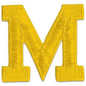 """[Single Count] Custom and Unique (2"""" Inch) Bright Alphabet Letter M Bold Plain Solid Block Font Monogram Initial Letterman Jacket Sports Design Iron On Embroidered Applique Patch {Yellow Color}"""