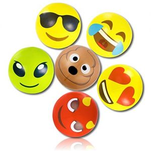 """ULTRA Durable & Custom {18"""" Inch} 6 Pack of Mid-Size Inflatable Beach Balls for Summer Fun, Made of Lightweight FLEX-Resin Plastic w/ Neon Alien Bright Surprised Heart Excited Cool Emojis {Multicolor}"""