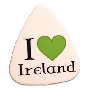Unique and Custom (.76 MM Thick) Medium Gauge Hard Plastic, Traditional Style Semi Tip Guitar Pick w/Irish Pride I Love Ireland Heart Design {White, Green & Black - 5 Picks Multipack}