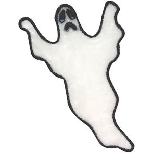 "[Single Count] Custom and Unique (2"" x 3"" Inch) ""Halloween"" Seasonal Spooky Hallows Eve Flying Haunting Scary Ghost Design Iron On Embroidered Applique Patch {White & Black Colored}"
