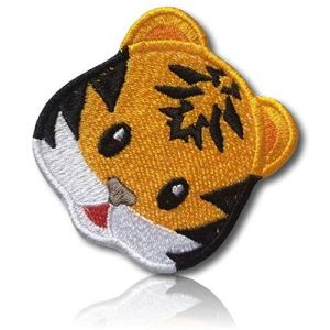 """[1 Count ] Custom and Unique (1.9""""Inch) """"Animal"""" Emoji Bengal Tiger Young Baby Cub Face W/Cool Stripes & Loveable Adorable Look Emoticon Iron On Embroidered Applique Patch {Orange, Black & White}"""
