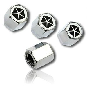 (4 Count) Cool & Custom Tire Wheel Rim Valve Stem Cap Cover Seal w/ Easy Grip Texture, Made of Hardened Rubber w/ Old Chrysler Logo In Metallic Mirrored Shiny Reflective Style {Silver, Black & White}