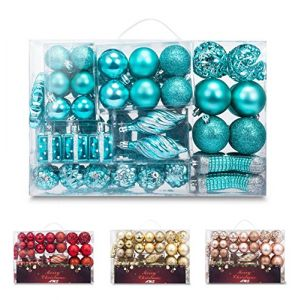 AMS 72ct Christmas Ball Assorted Pendant Shatterproof Ball Ornament Set Seasonal Decorations with Reusable Hand-Help Gift Boxes Ideal for Xmas, Holiday and Party(72ct, Turquoise)