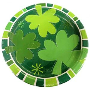 """Custom & Unique {9"""" Inch} 8 Count Multi-Pack Set of Medium Size Round Circle Disposable Paper Plates w/ Irish 3 Three Leaf Clover Celebration Party """"Green & White Colored"""""""