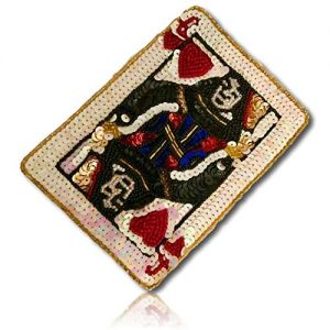 """Beautiful & Custom {5.5"""" x 4"""" Inch} 1 of [Sew-On & Glue-On] Embroidered Applique Patch Made of Beads & Sequins w/Representational Queen Hearts Playing Card w/Realistic Authentic Sty {Multicolored}"""