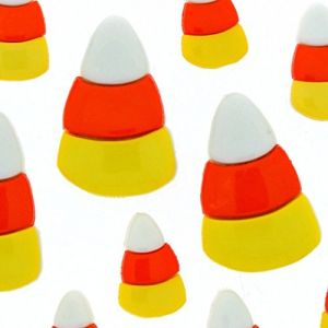 """Fancy & Decorative {Assorted Sizes 19 - 22mm w/ 1 Back Hole} 10 Pack of """"Popper Shank"""" Sewing & Craft Buttons Made of Acrylic Resin w/ Candy Corn Halloween Design {White, Orange & Yellow Colors}"""